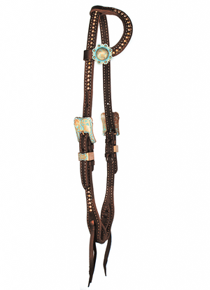"""Nipomo"" Copper Turquoise Patina Dotted Chocolate Harness One Ear Headstall - Andrea Equine"