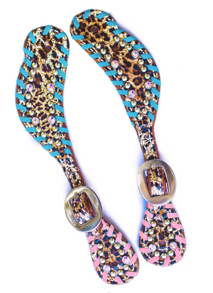 Turquoise Rose Leopard Spur Straps w/ Swarovski Crystals & Whip Lace cheetah
