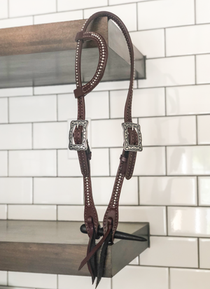 """Punchy"" Dotted Stainless Chocolate Harness One Ear Headstall"