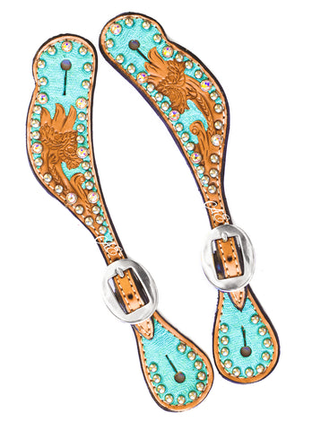"""Andrea"" Hand Tooled Metallic Turquoise Spur Straps w/ Swarovski Crystals"