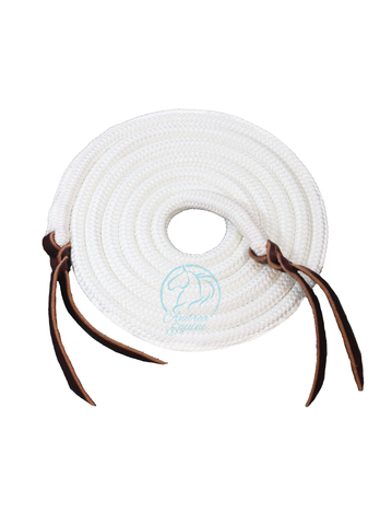 10 Ft White Clinician Loop Reins - Andrea Equine