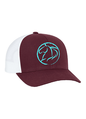 Andrea Equine Embroidered Trucker Hat-Maroon - Andrea Equine