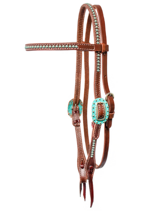 """Pozo"" Copper Turquoise Patina Dotted Browband Headstall - Andrea Equine"