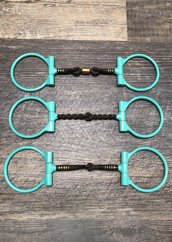 Turquoise Powder Coated Sweet Iron Dee Snaffle Bits w/Copper Inlay - Andrea Equine