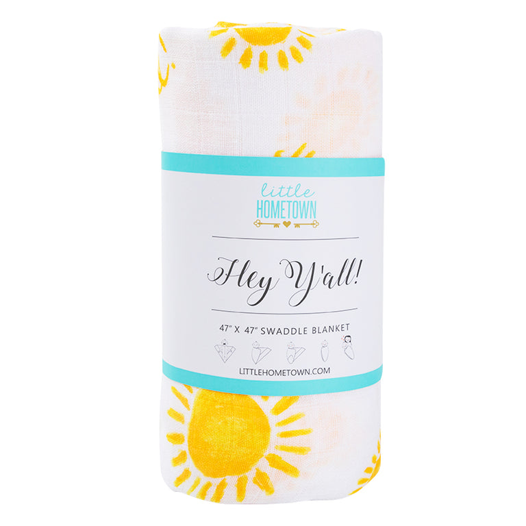 Gift Set: Bluebonnets Swaddle Blanket and Burp Cloth/Bib Combo