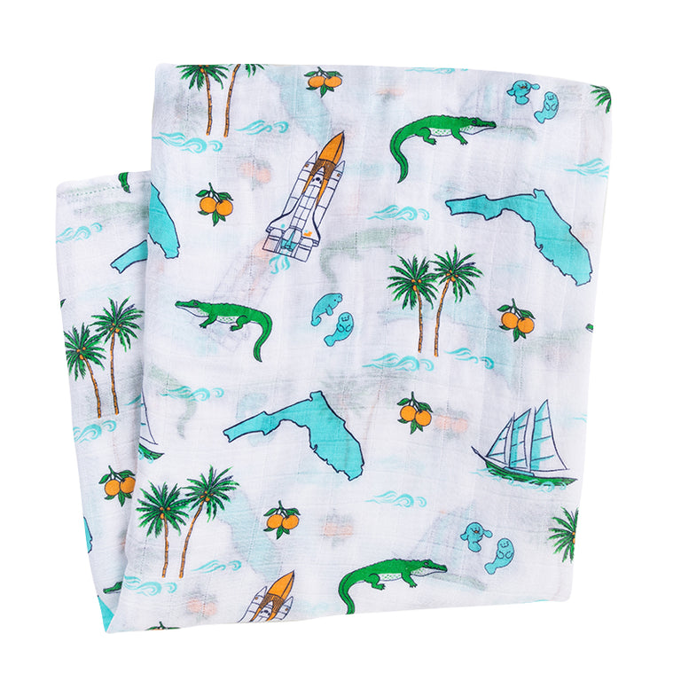 Gift Set: Florida Boy Swaddle Blanket and Burp Cloth/Bib Combo