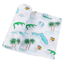 Load image into Gallery viewer, Gift Set: Florida Baby Swaddle Blanket and Burp Cloth/Bib Combo