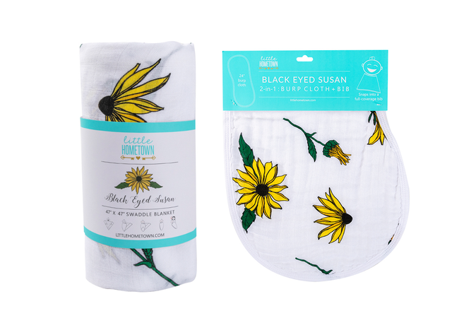 Gift Set: Black Eyed Susan Swaddle Blanket and Burp Cloth/Bib Combo