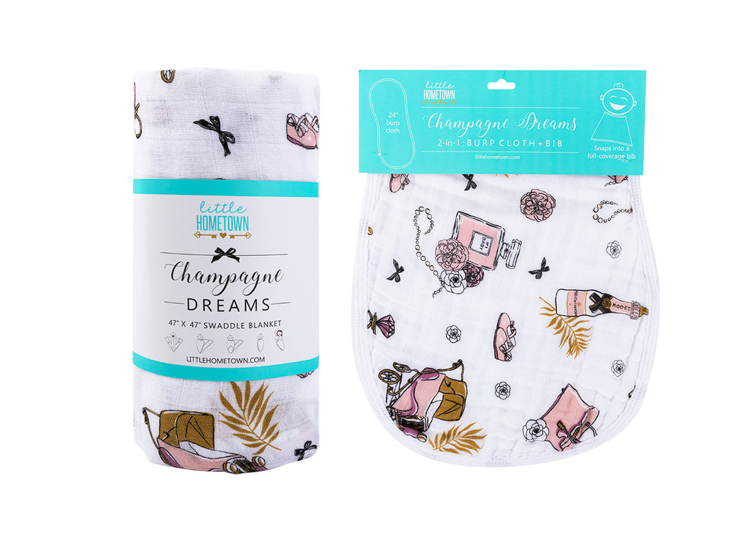 Gift Set: Champagne Dreams Swaddle Blanket and Burp Cloth/Bib Combo