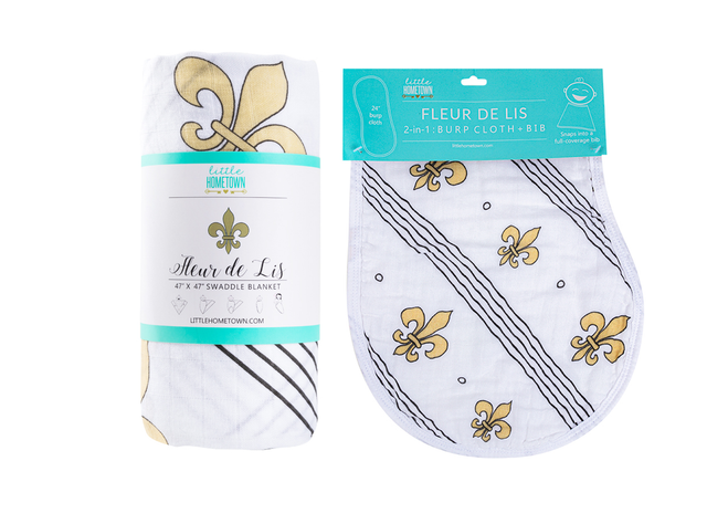 Gift Set: Fleur de Lis Swaddle Blanket and Burp Cloth/Bib Combo - Little Hometown