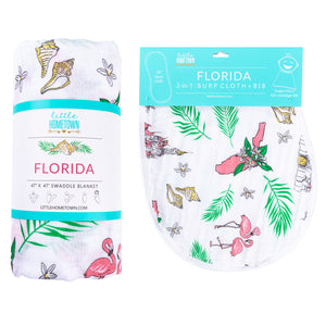 Gift Set: Florida Baby (Floral) Swaddle Blanket and Burp Cloth/Bib Combo