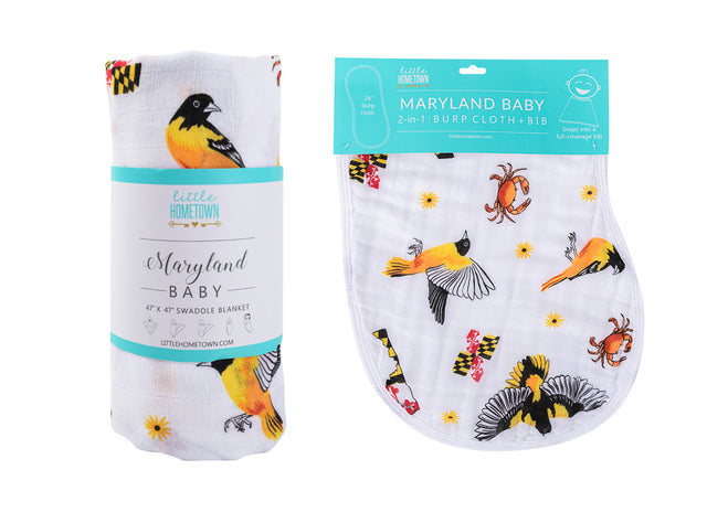 Gift Set: Maryland Baby Swaddle Blanket and Burp Cloth/Bib Combo