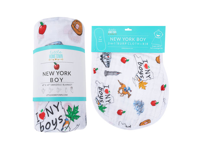 ** NEW ** Gift Set: New York Boy Swaddle Blanket and Burp Cloth/Bib Combo