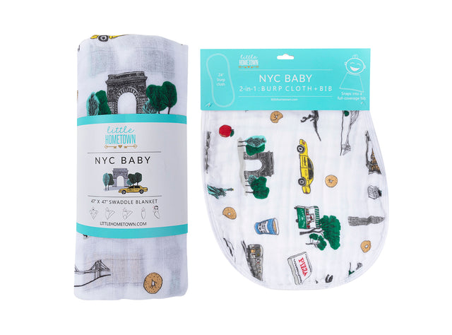 Gift Set: New York City Baby Swaddle Blanket and Burp Cloth/Bib Combo