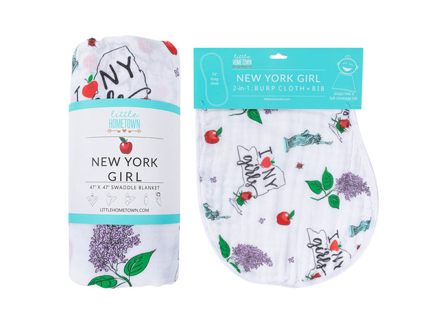 ** NEW ** Gift Set: New York Girl Swaddle Blanket and Burp Cloth/Bib Combo