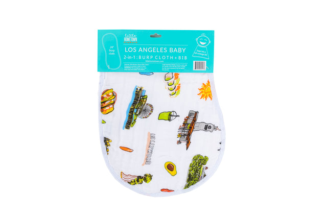 2-in-1 Burp Cloth and Bib: Los Angeles Baby