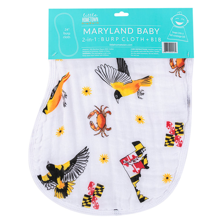 2-in-1 Burp Cloth and Bib: Maryland Baby