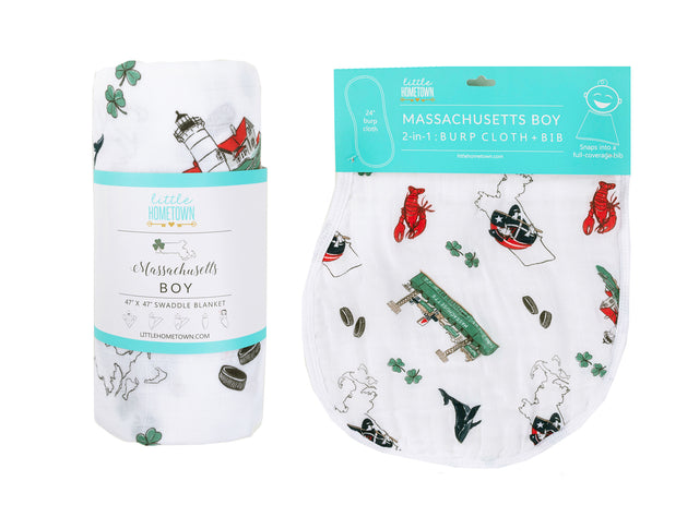 Gift Set: Massachusetts Boy Swaddle Blanket and Burp Cloth/Bib Combo