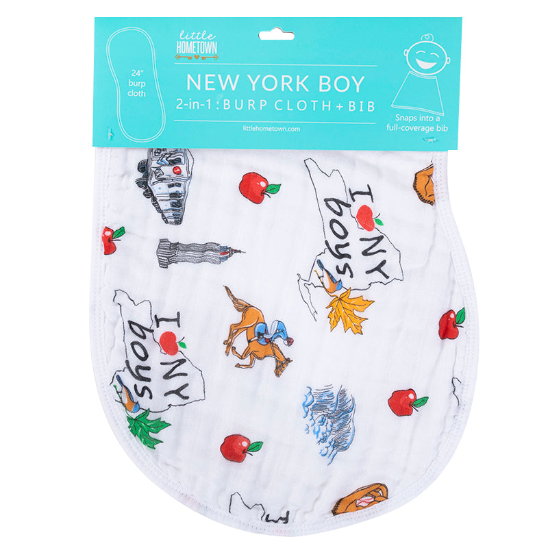2-in-1 Burp Cloth and Bib:  New York Boy