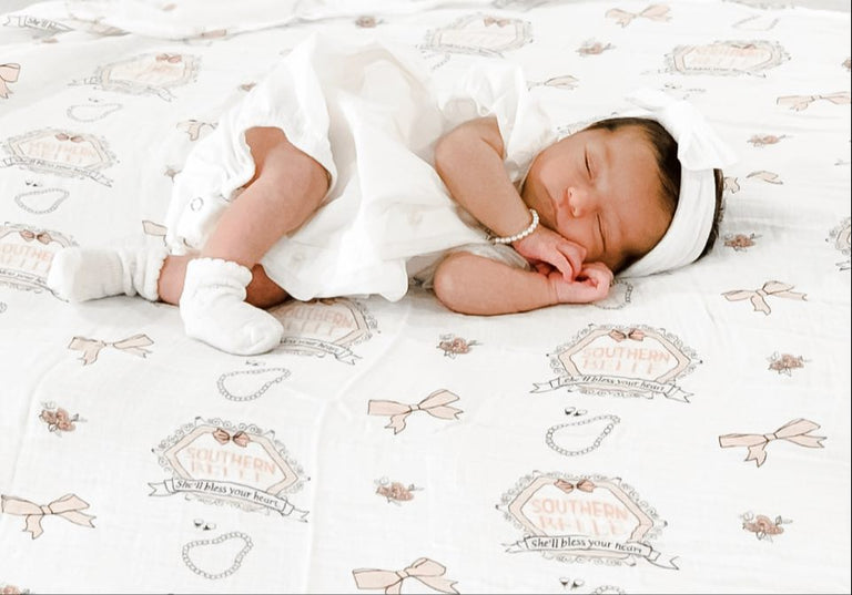Gift Set: Southern Belle Swaddle Blanket and Burp Cloth/Bib Combo