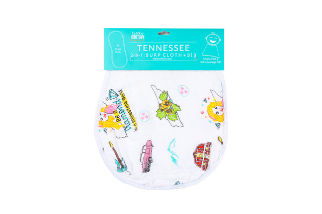 2-in-1 Burp Cloth and Bib:  Tennessee Baby (Floral)