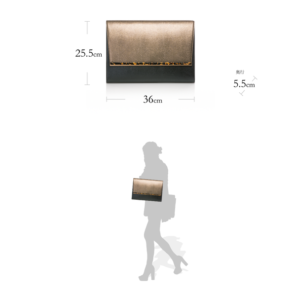 DANA Sabae-Clear: Large clutch bag(BK_RD_BRbar)