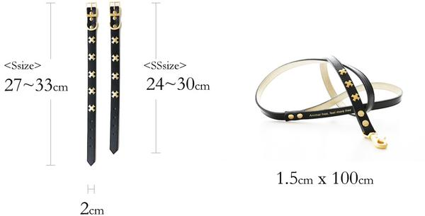WILLA: Collar & Leash set (BK)【S】