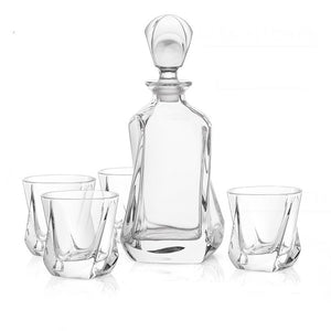 Aurora Crystal Whiskey Glases & Decanter - 5-Piece Set
