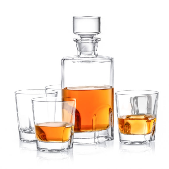 Carina Crystal Whiskey Glasses & Decanter - 5-Piece Set