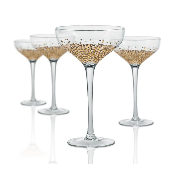 Confetti Gold Champagne Flat Coupe, 10 oz, Set of 4