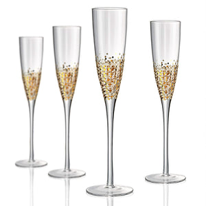 Confetti Gold Champagne Flute, 6 oz, Set of 4