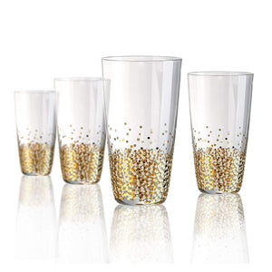 Confetti Gold Highball Glass, 18 oz, Set of 4