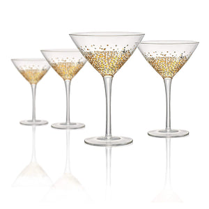 Confetti Gold Martini Glass On Stem, 9 oz, Set of 4