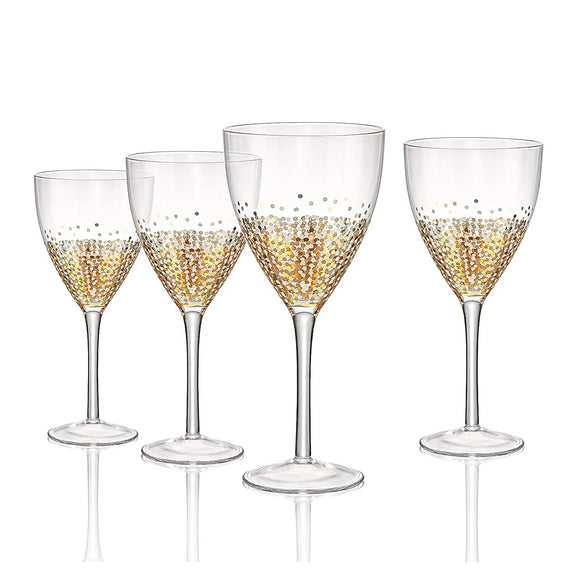 Confetti Gold Goblet On Stem, 14 oz, Set of 4