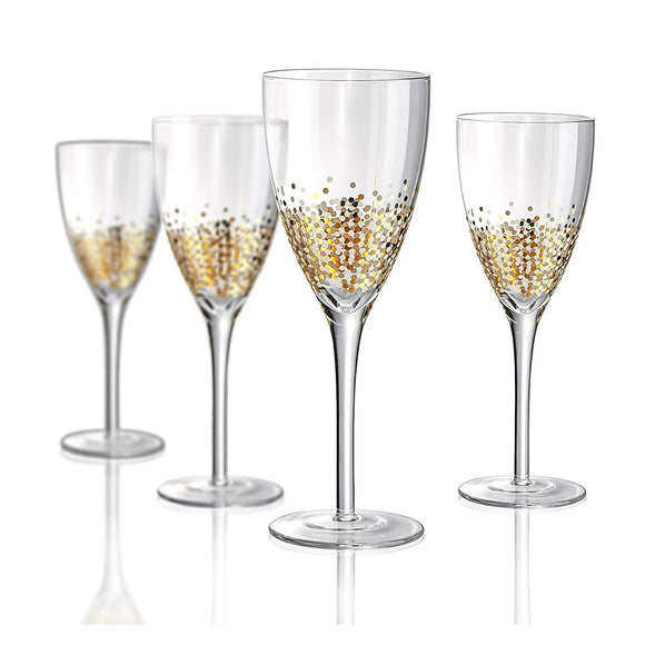 Confetti Gold Wine Glass On Stem, 12 oz, Set of 4