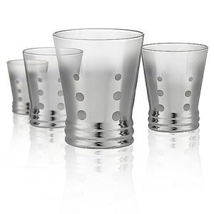 Dotted Silver DOF Glass, 12 oz, Set of 4