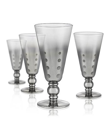 Dotted Silver Wine Goblet Short Stem, 12 oz, Set of 4