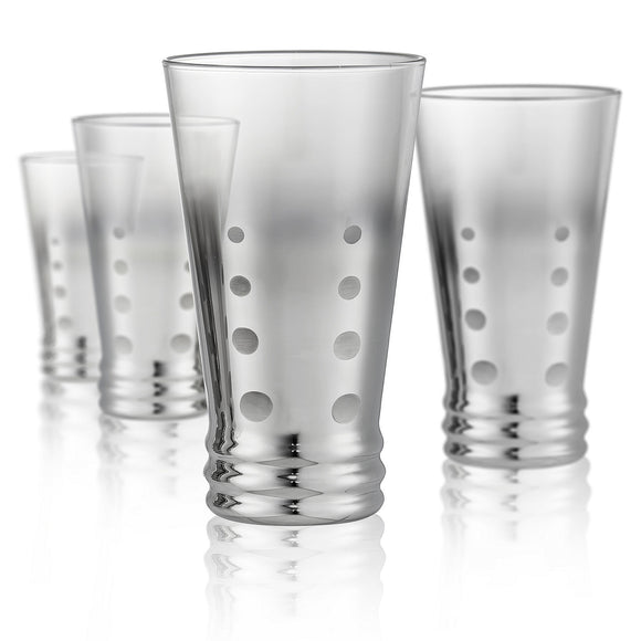 Dotted Silver Highball Glass, 13 oz, Set of 4