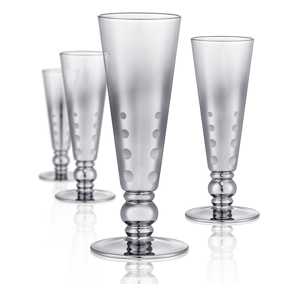 Dotted Silver Champagne Flute Short Stem, 8 oz, Set of 4