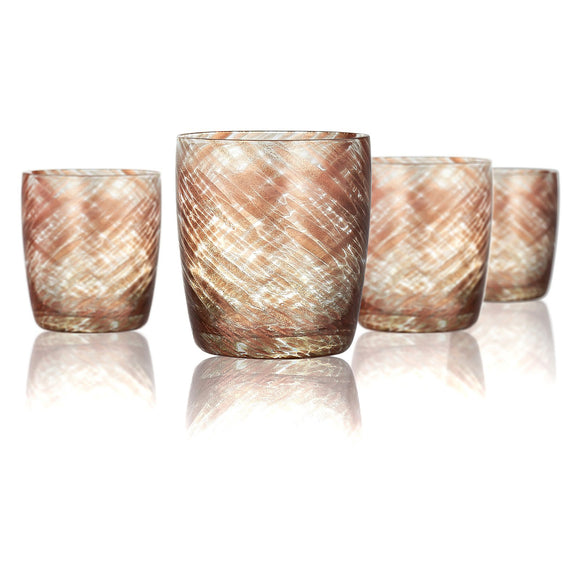 Rose Gold & Clear DOF Glass, 10 oz, Set of 4