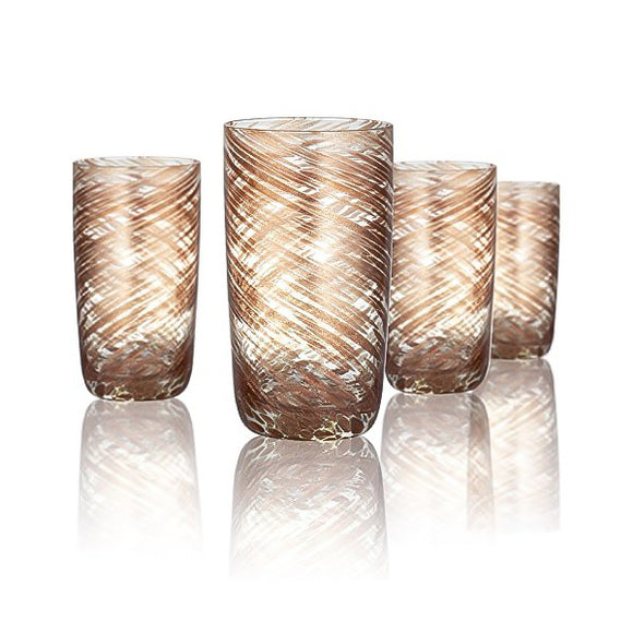Rose Gold & Clear Highball Glass, 15 oz, Set of 4