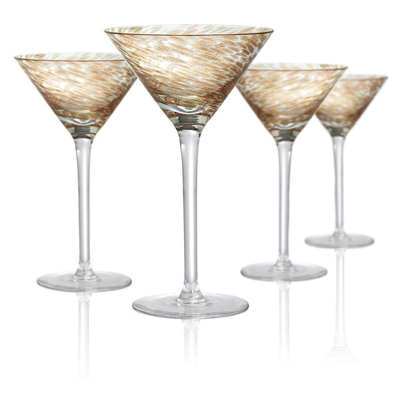 Rose Gold & Clear Martini Glass, 8 oz, Set of 4