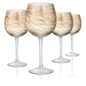 Rose Gold & Clear Goblet, 14 oz, Set of 4