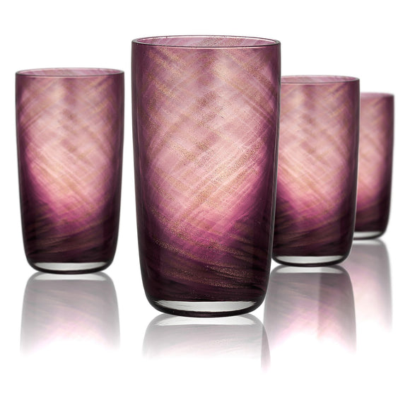 Rose Gold & Plum Highball Glass, 15 oz, Set of 4