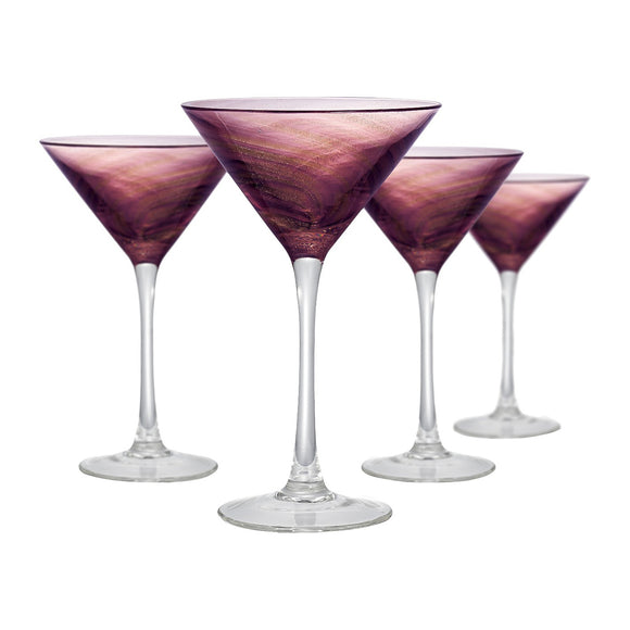 Rose Gold & Plum Martini Glass, 8 oz, Set of 4