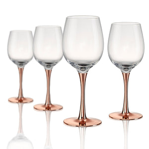 Rose Stem Wine Glass, 14 oz, Set of 4