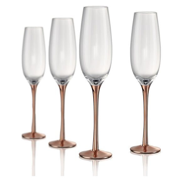Rose Stem Flute, 8 oz, Set of 4