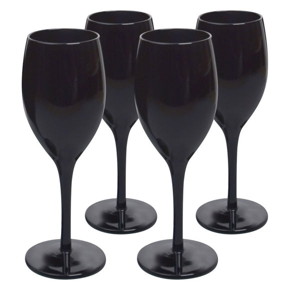 Smooth Black Wine Glass, 9 oz, Set of 4