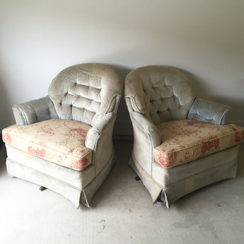 Pair of Vintage 1970's Swivel Rocker Club Chairs