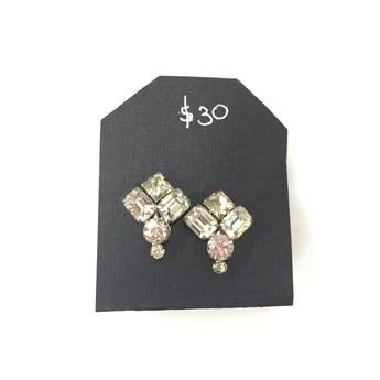 Vintage Cluster White Clear Rhinestone Earrings